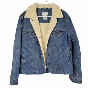L.L. Bean Sherpa Lined Denim Jacket Jean M